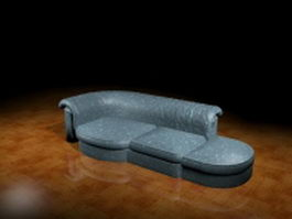 Fabric couch with chaise 3d model preview
