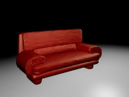 Red leather couch 3d preview