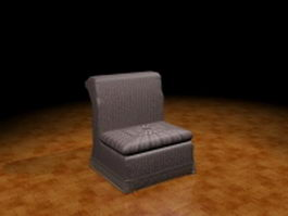 Armless sofa chair 3d model preview