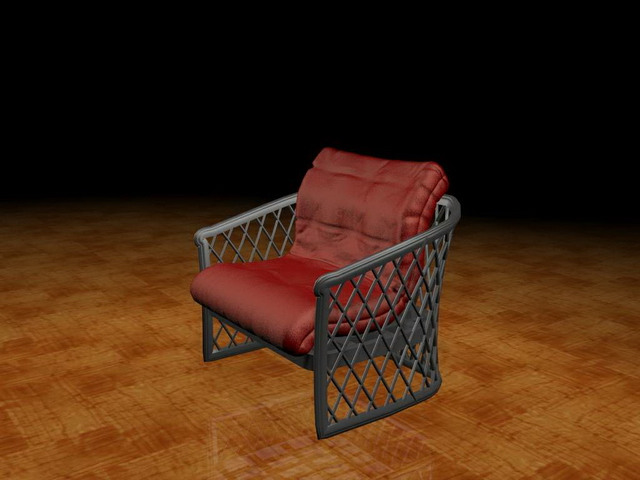 Upholstered wire chair 3d rendering