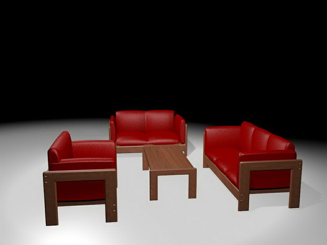 Red sofa sectionals 3d rendering