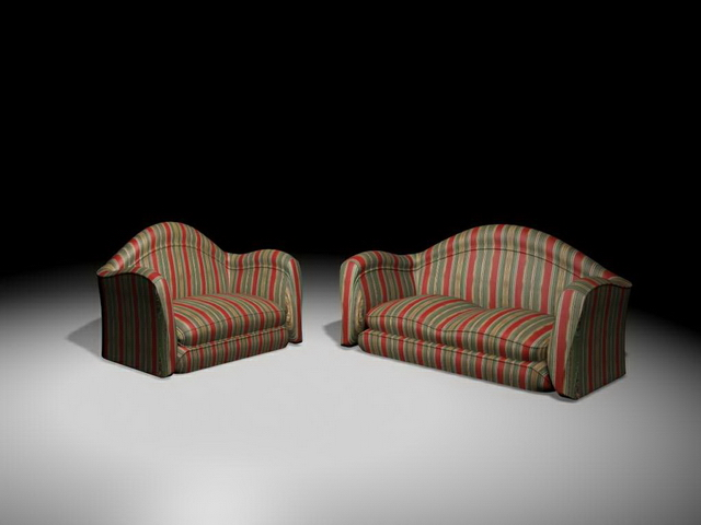Fabric sofa sets 3d rendering