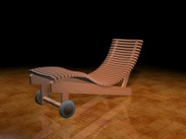 Wood sun lounger 3d preview