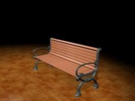 Garden bench 3d model preview