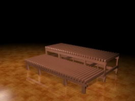 Wood patio bench 3d preview