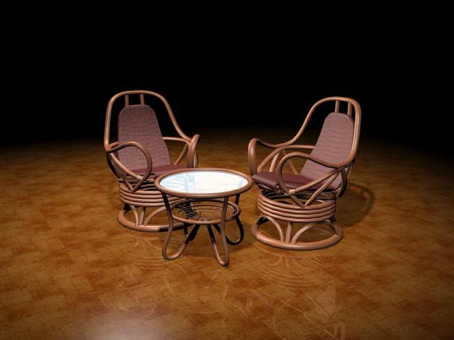 Coffee table set 3d rendering