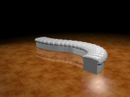 Curved settee bench 3d preview