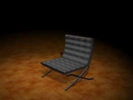 Black Barcelona chair 3d preview