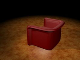 Red tub sofa 3d preview
