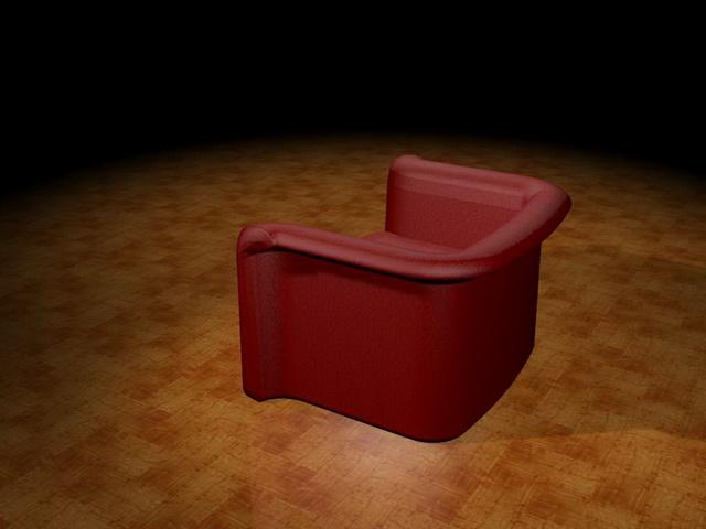 Red tub sofa 3d rendering