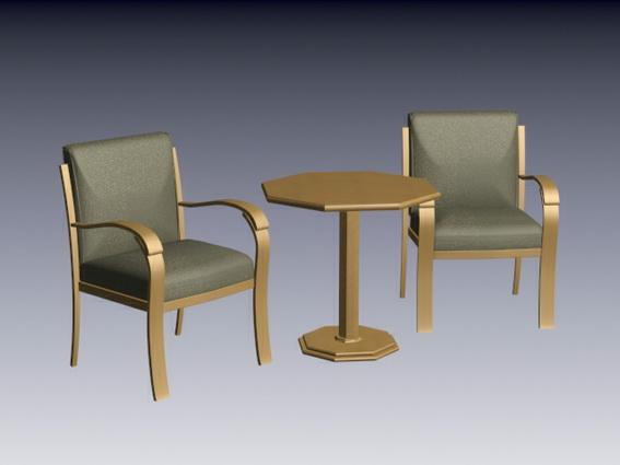 Tea table set 3d rendering