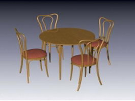 Tea table with chairs 3d preview