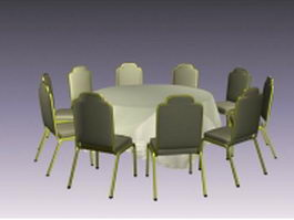 Restaurant dining table sets 3d preview