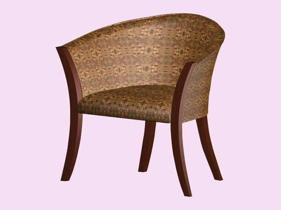Barrel back chair 3d rendering