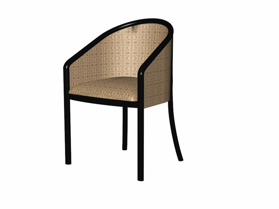 Vintage barrel chair 3d rendering