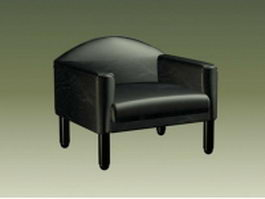 Black leather chair 3d preview