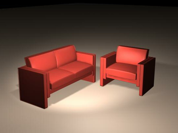Traditional sofa sets 3d rendering