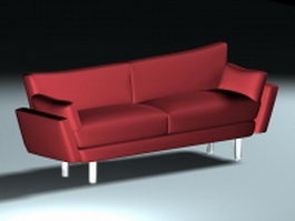 Red couch loveseat 3d preview