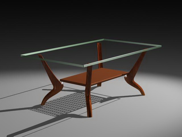 Modern glass coffee table 3d rendering