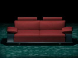 Red sofa loveseat 3d preview