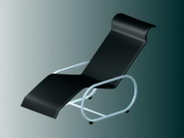 Black chaise lounge chair 3d preview