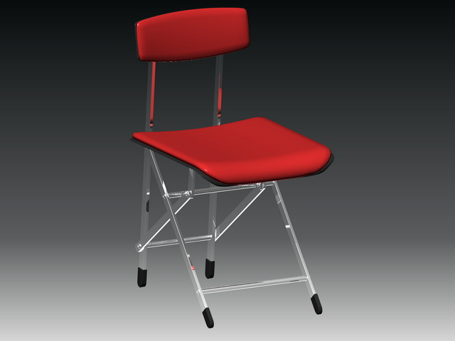 Red folding chair 3d rendering