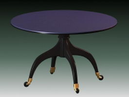 Vintage round dining table 3d preview