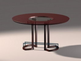 Circle dining table 3d model preview