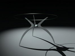 Modern round glass dining table 3d model preview