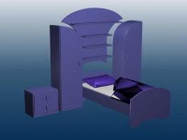 Bed furniture sets 3d model preview