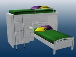 Dormitory bed furniture 3d preview