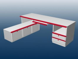 Office table with file cabinet 3d preview
