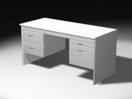 White office desk 3d model preview