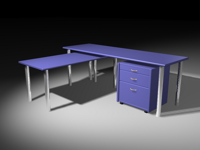 Office table with storage 3d rendering