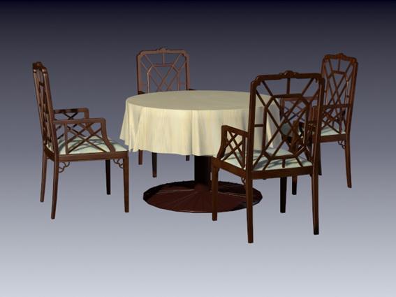 Antique dining furniture sets 3d rendering