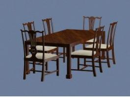 Formal dining furniture sets 3d model preview