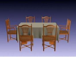 Traditional formal dining room furniture 3d model preview