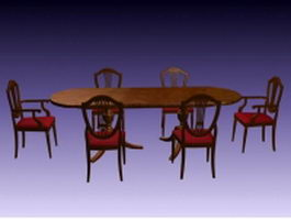 Traditional dining furniture sets 3d model preview