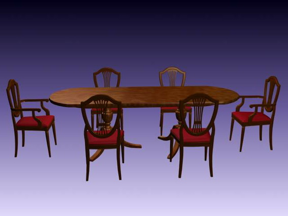 Traditional dining furniture sets 3d rendering