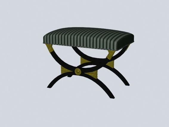 X bench ottoman 3d rendering