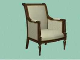 Antique accent chair 3d preview
