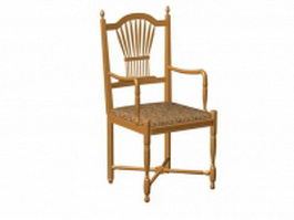 Antique wooden chair with arms 3d preview