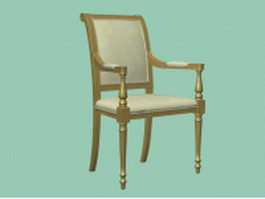 Vintage wood arm chair 3d preview