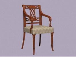 Antique wood arm chair 3d preview