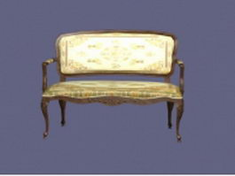 Antique settee bench 3d preview