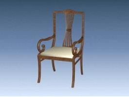 Antique wood armchair 3d preview