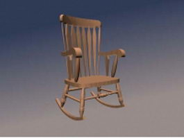 Wood rocking chair 3d preview