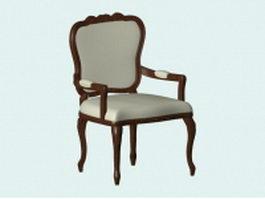 Vintage wood armchair 3d preview