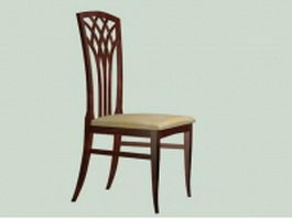 Wood side dining chair 3d preview