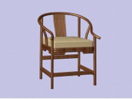 Vintage wood arm chair 3d preview